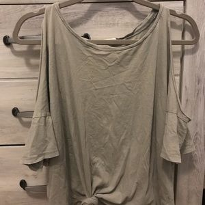 Grey tied up blouse